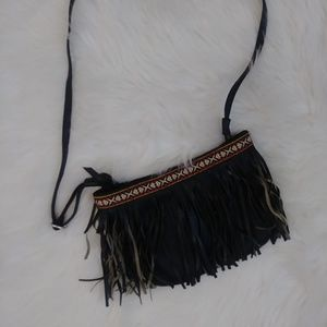 #743 Faux Leather, Fringe Crossbody Purse